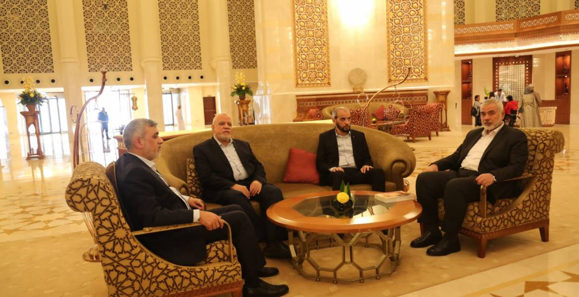 The Hamas delegation upon its arrival in Oman.