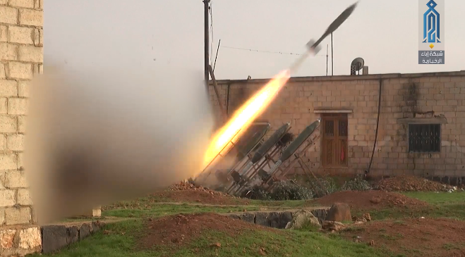 Rockets launched by the Headquarters for the Liberation of Al-Sham against Syrian army positions east of Maarat Nu'man (Ibaa, January 8, 2020)