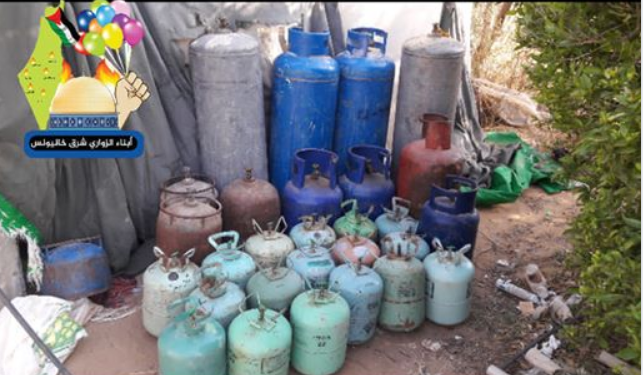 Preparing gas for inflating balloons (Facebook page of the Sons of al-Zawari unit in Khan Yunis, January 18, 2020).