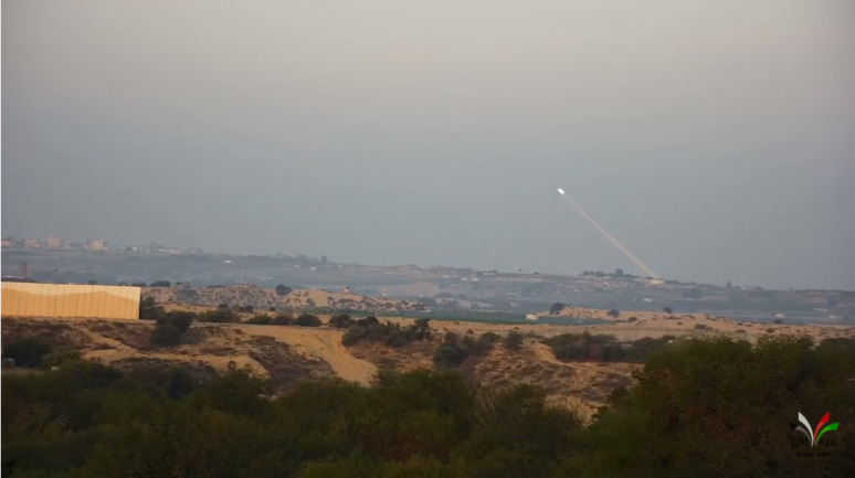 Documentation of a rocket launch targeting the Israeli communities near the Gaza Strip (GazaNow YouTube channel, January 15, 2020).