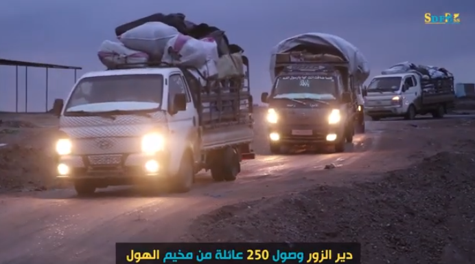 The arrival of displaced families to the Deir ez-Zor region (SDF Press, January 22, 2020)