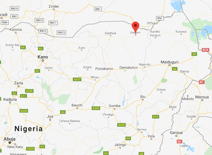 Site of the attack against the Nigerian army headquarters (Google Maps)