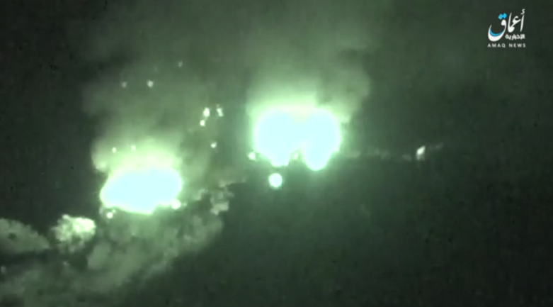 Houthi compounds in the northwestern part of the Al-Bayda Province set on fire by ISIS operatives.