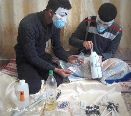 Preparing explosives for IED balloons which [allegedly] contain toxic and incendiary substances.
