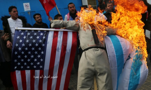 Rioters in the Gaza Strip burn Trump in effigy, and American and Israeli flags (Twitter account of Gazan journalist Hassan Aslih, January 27, 2020).