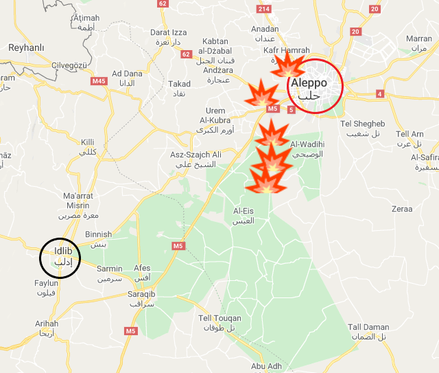 Areas where battles took place in the Aleppo region between the Syrian army and the rebel organizations on January 26-27, 2020 (Google Maps)