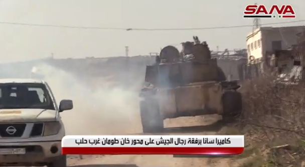 A Syrian army tank on the Khan Tuman road, southwest of Aleppo.
