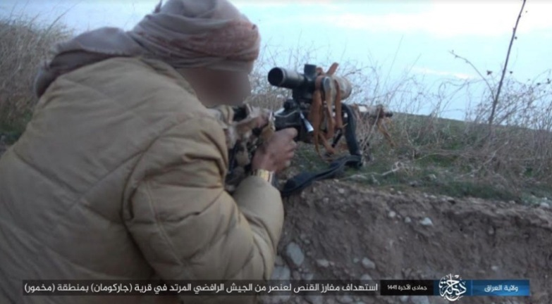 ISIS sniper shooting at an Iraqi soldier (Telegram, January 28, 2020)