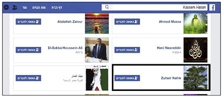 Facebook friends of Qassem Hassan, responsible for the south Lebanon region of Hezbollah's Jihad al-Bina, which has close ties to Green Without Borders. Outlined at the lower right, Hajj Zuhair Nahle is one of Hassan's Facebook friends (Facebook profiles if Qassem Hassan, February 7, 2020).