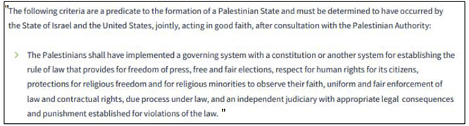 Trump plan (Section 17, page 34) sets criteria for the character of the Palestinian state to be established