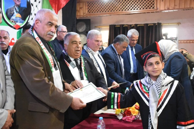 Ceremony awarding scholarships in the Khan Yunis refugee camp (website of the PLO's department of refugee affairs, February 16, 2020).