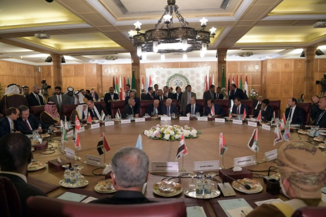 The emergency meeting of the foreign ministers of the Arab League in Cairo (Wafa, February 1, 2020).