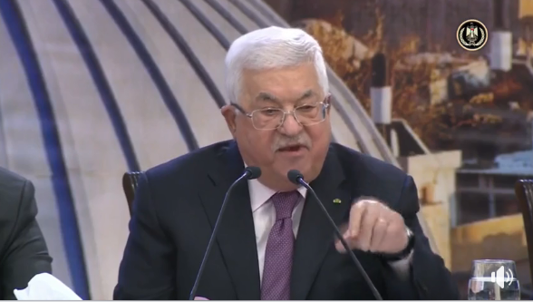 Mahmoud Abbas gives a speech condemning the