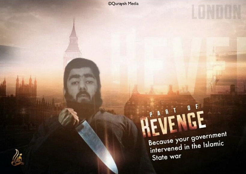Poster showing the terrorist who carried out the stabbing attack in London Bridge (Telegram, February 3, 2020)