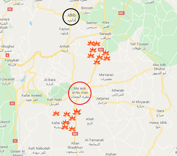 Villages taken over by the Syrian army south of Maarat Nu'man and south of Saraqib between January 29, 2020 and February 3, 2020 (Google Maps).