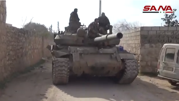 Syrian army tank in one of the villages southwest of Saraqib (SANA, February 3, 2020).