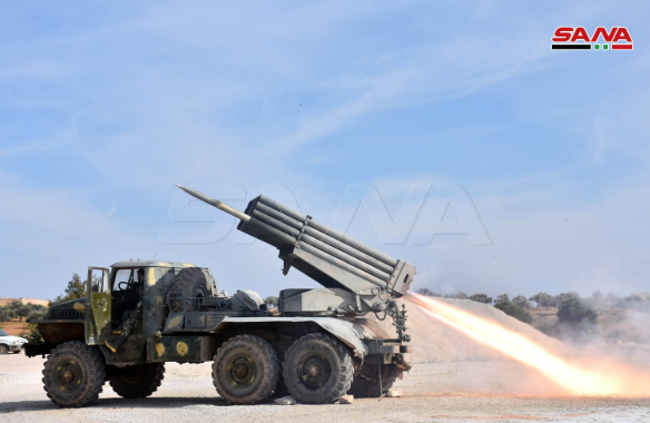 Rockets being launched by the Syrian army at positions of the Headquarters for the Liberation of Al-Sham southwest of Saraqib (SANA, February 3, 2020).