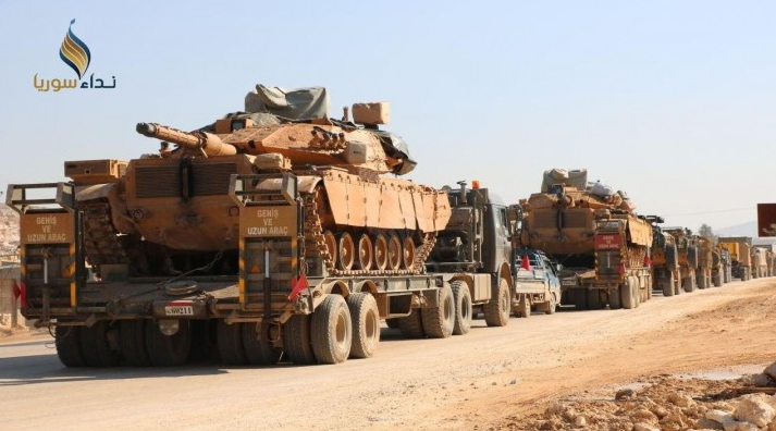 Turkish army convoy consisting of tanks on carriers and trucks that entered Syria through the Kafr Lusin border crossing on February 3, 2020 (Nida Suriya, February 3, 2020).
