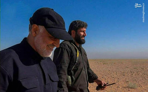 The IRGC member Asghar Pashapour alongside Qasem Soleimani (Mashregh News, February 3, 2020).
