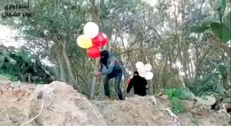 The Sons of al-Zawari in the northern Gaza Strip launch IED balloons.