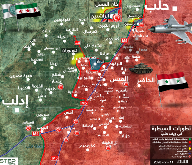 Map of the control zones southwest of Aleppo (updated to February 11, 2020). Red: Area controlled by the Syrian army. Green: Area controlled by the Headquarters for the Liberation of Al-Sham and the other rebel organizations. Blue line: M-5 – the Damascus-Aleppo highway and M-4, the Aleppo-Latakia highway. Yellow: Areas where fighting is currently taking place. Turkish flags: Turkish observation posts (Khotwa, February 11, 2020)
