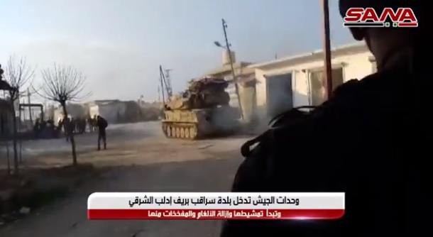 The Syrian army in Saraqib (SANA, February 6, 2020)