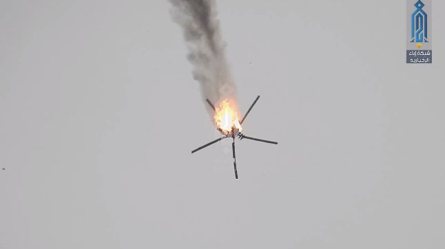 Syrian army helicopter on fire after being hit over Nayrab