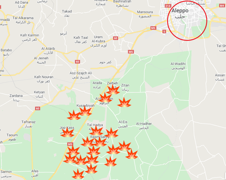 Villages taken over by the Syrian army southwest of Aleppo on February 7-9, 2020 (Google Maps)