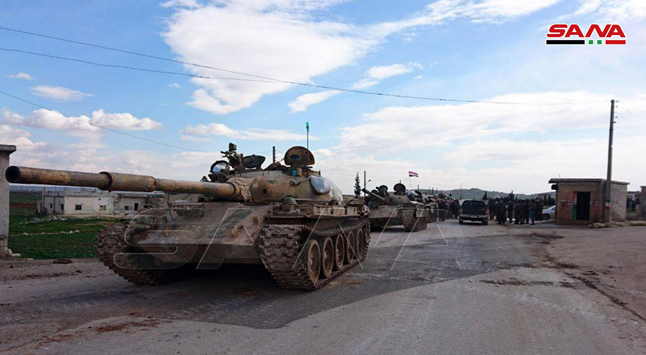 Syrian soldiers in Al-Barkum, southwest of Aleppo, one of the villages taken over by the Syrian army on February 9, 2020.
