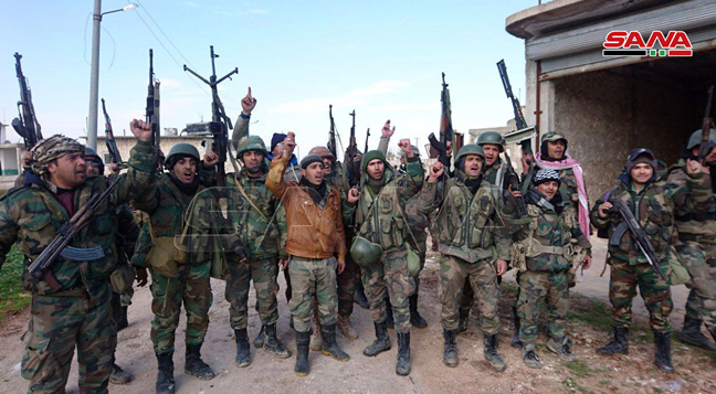 Syrian soldiers and maybe also militiamen in Al-Barkum (SANA, February 10, 2020)