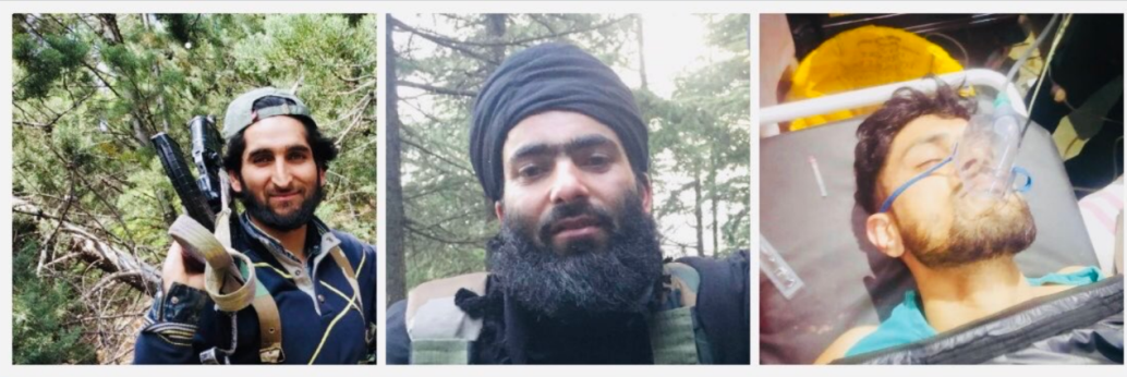 The three operatives of ISIS's India Province who carried out the attack (Kashmir Source Twitter account, February 5, 2020)