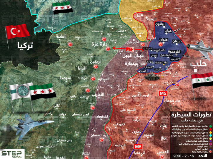 Red: Area controlled by the Syrian army. Green: Area controlled by the Headquarters for the Liberation of Al-Sham and the other rebel organizations. Blue: Areas west and northwest of Aleppo taken over by the Syrian army. Yellow: Areas where fighting is currently taking place. Purple: Area where the Syrian army is expected to advance (Khotwa, February 16, 2020)