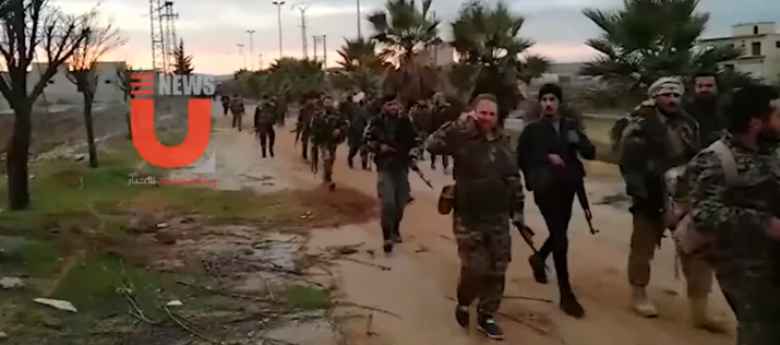 Militias supporting the Syrian army in a village west of Aleppo, after it was taken over from the rebel organizations (Lebanese UNews YouTube channel, February 16, 2020).