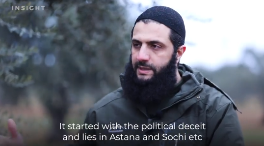 Abu Mohammad al-Julani (right), commander of the Headquarters for the Liberation of Al-Sham, during the interview (Insight Media Facebook, February 16, 2020)