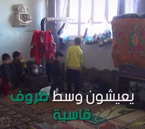 Displaced children spending the night in a school in the town of Kafr Takharim (about 10 km east of the Syrian-Turkish border (SY Plus, Syrian website affiliated with the rebel organizations, February 15, 2020).