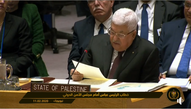 Mahmoud Abbas speaking before the UN Security Council (Mahmoud Abbas's Facebook page, February 11, 2020)