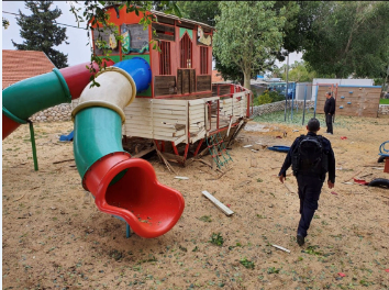 Playground in Sderot damaged by rocket fire (Israel Police Force spokesman's unit, February 24, 2020).