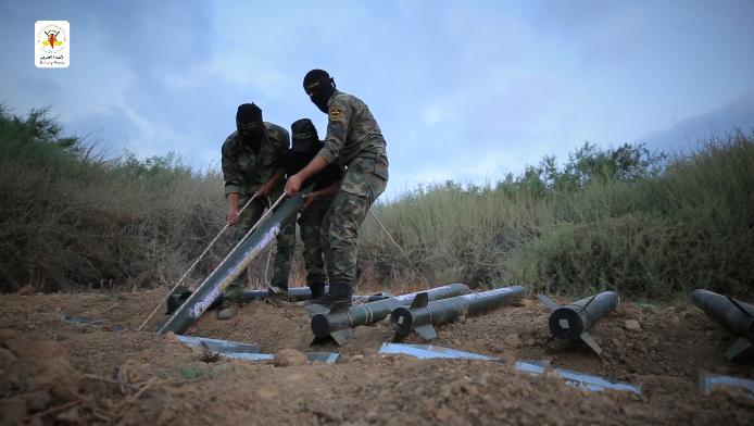 Preparing a rocket for firing (Jerusalem Brigades website, February 24, 2020).