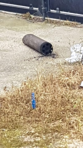 Rocket that fell in the yard of a house in Sderot (ZAKA spokesman's unit, February 24, 2020).