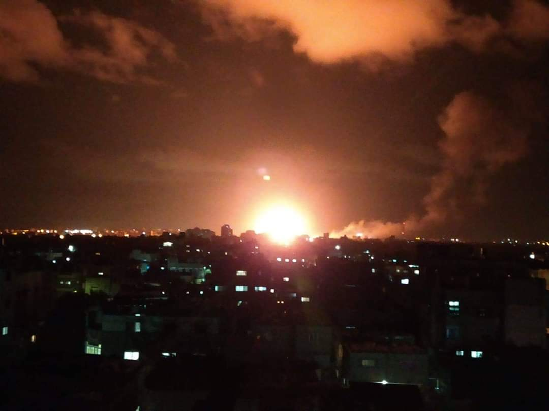 Israeli Air Force attack in Gaza City (Palinfo Twitter account, February 24, 2020).