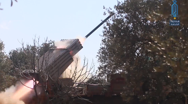 Grad rockets launched by the Headquarters for the Liberation of Al-Sham at Syrian army positions in Al-Nayrab (Ibaa, February 20, 2020)