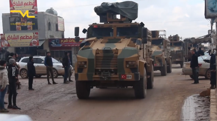 Turkish army convoy near the village of Hazanu (Edlib Media Center – EMC, February 22, 2020)