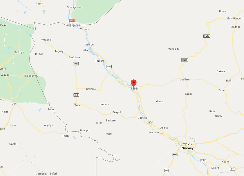 The area of the city of Tillabéri in Niger, where forces of Niger and France carried out an operation (Google Maps)