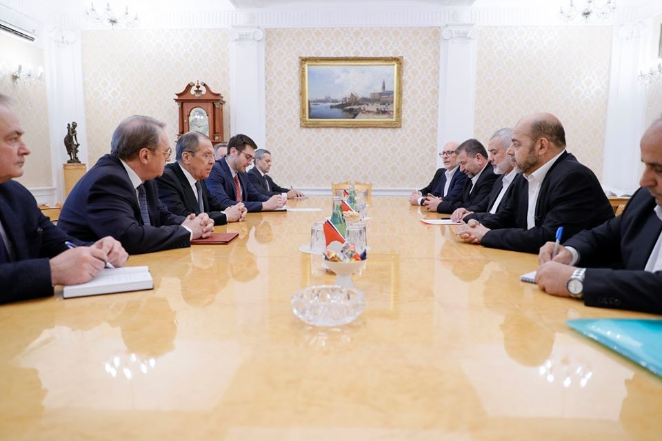 The Hamas delegation, headed by Haniyeh, meets with Lavrov (Facebook page of the Russian foreign ministry, March 2, 2020).