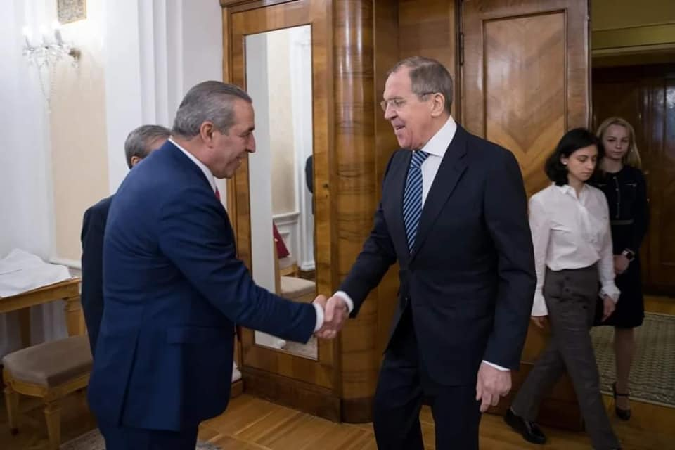 Hussein al-Sheikh in Moscow with Sergey Lavrov, the Russian foreign minister (Hussein al-Sheikh's Facebook page, February 27, 2020).