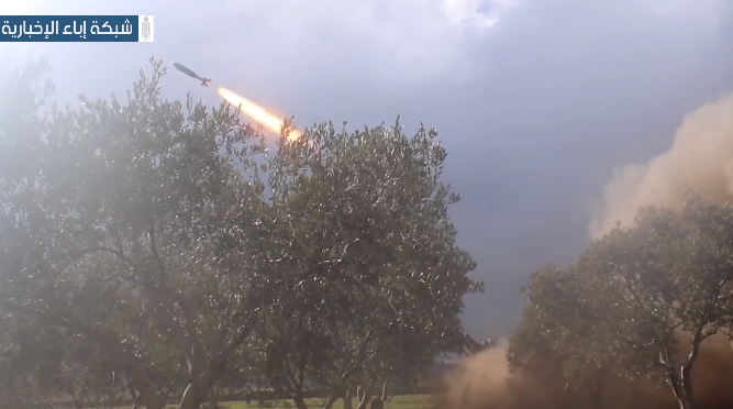Rockets of the Headquarters for the Liberation of Al-Sham launched at targets of the Tiger Forces under the command of Col. Suhail Hassan in the southern Idlib region (Ibaa, February 29, 2020)