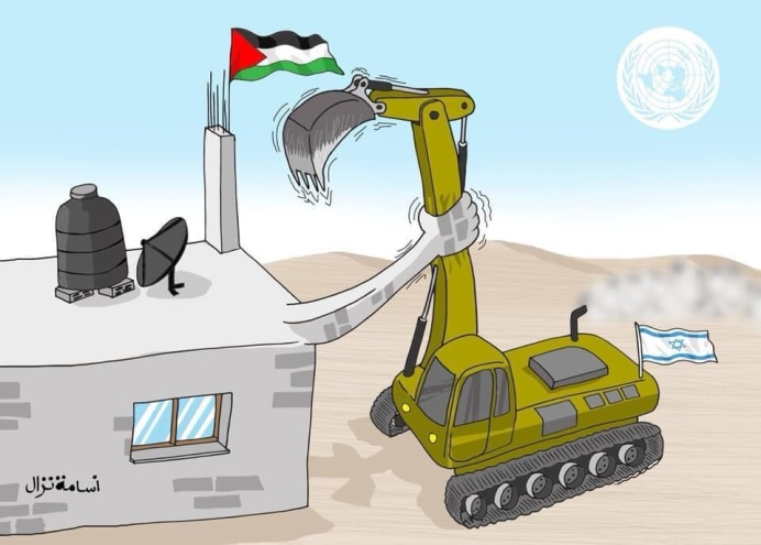 Cartoon after the demolition of the houses (Amana website, March 5, 2020).