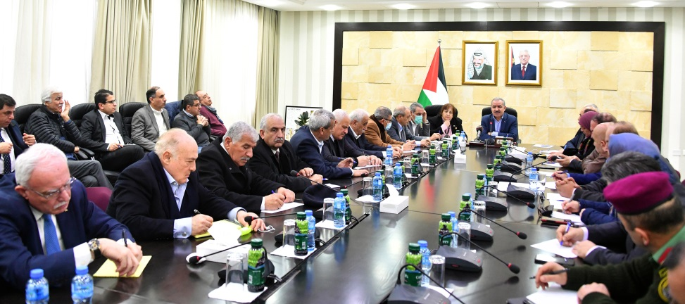 Muhammad Shtayyeh holds a meeting with some of the PA government ministers, district governors and commanders of the security services following the discovery of Palestinians infected with the coronavirus in Bethlehem (Wafa, March 6, 2020).