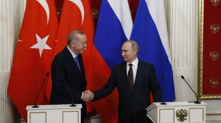 Russian President Vladimir Putin and Turkish President Recep Tayyip Erdoğan at the press conference in Moscow where they announced the ceasefire agreement in the Idlib region (Speda, a Kurdish news website operating from Iraq, March 5, 2020).
