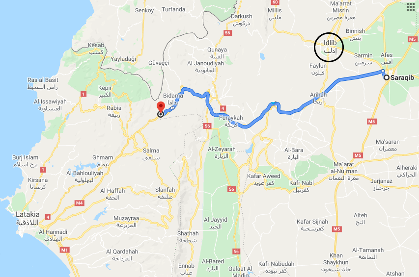 M-4 highway in the section between Saraqeb and Ein al-Hour, where joint Russian and Turkish patrols are supposed to take place (Google Maps)